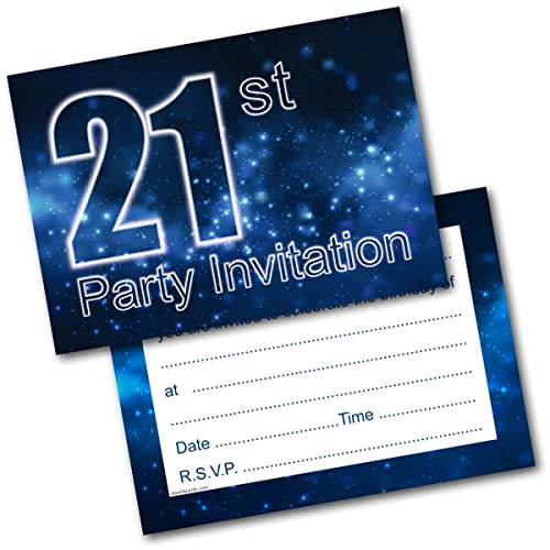 Doodlecards 21st Birthday Party Invitations Male Invites Pack Of 20 Postcards And Envelopes