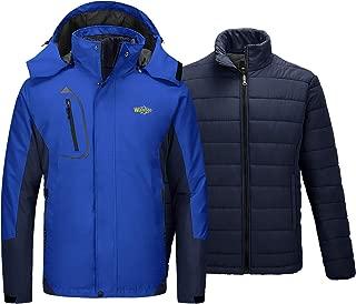 Men's Waterproof 3 in 1 Ski Jacket Hooded Windbreaker Warm Cotton Coat