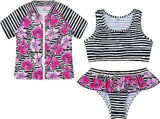 MSemis Kids Girls 3pcs Sun Protection Rash Guard Shirt Coat Tankini Set Printed Bikini Swimsuit