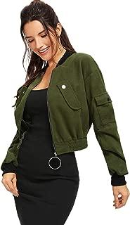 Milumia Women's Suede Stand Collar Hidden Zip Bomber Short Jacket