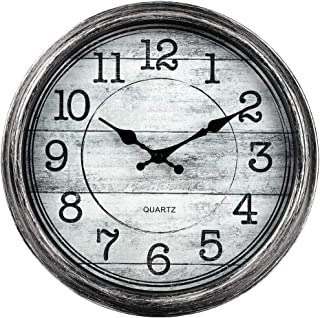 HYLANDA Retro/Vintage 12-Inch Kitchen Decorative Wall Clock, Silent Quartz Wall Cocks Battery Operated Non Ticking with Large Numbers Easy to Read for Home Bathroom Office(Silver)