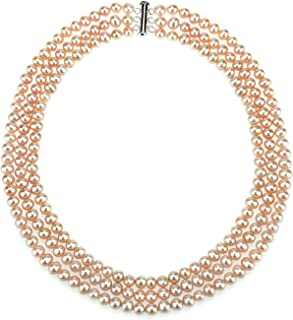 La Regis Jewelry .925 Sterling Silver 6.5-7mm Freshwater Cultured Pearl 3-Row Necklace, 18