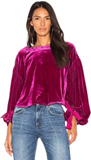 Free People Womens Gimme Some Lovin' Velvet Ribbon Tie Blouse
