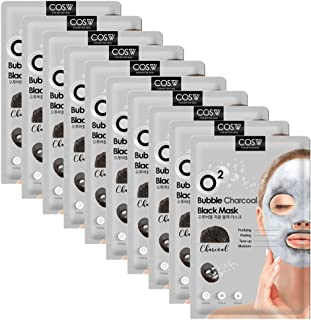COS.W Charcoal O2 Bubble Face Mask (10 Sheets) Moisturizes, Tones and Purifies