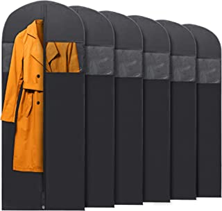 """PLX Hanging Garment Bags for Storage and Travel – Suit Bag, Dress Shirt, Coat and Dress Cover with Window and Zipper Set (6 Pack Black: 60"""" x 24"""")"""