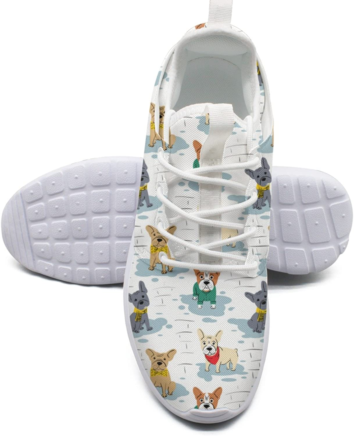 Cartoon Character French Bulldog Women's Fashion Tennis shoes Trendy Mesh Lightweight Basketball Sneakers