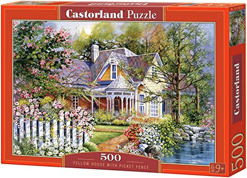 Castorland B-51878-2 - Gelb House with Picket Fence, 500 T, Klassische Puzzle