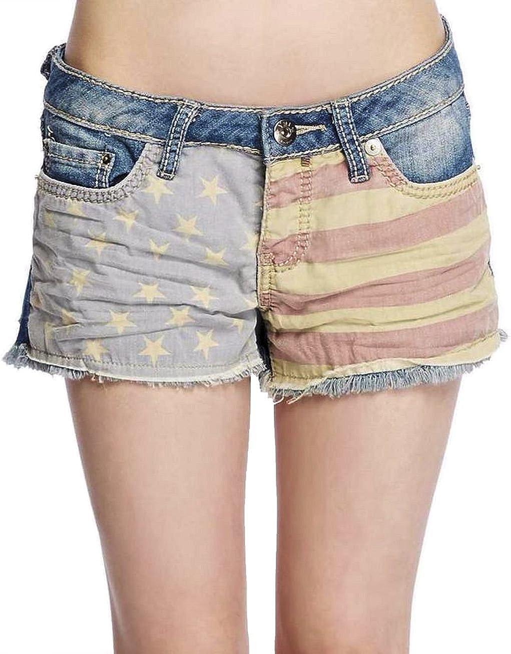 YMI Womens/Junior Patriotic Denim Shorts Frayed Hem