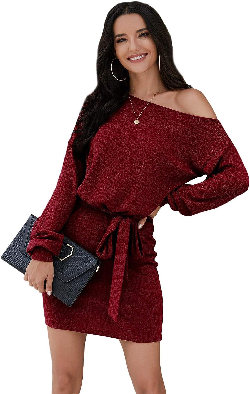 Floerns Women's Elegant Solid Long Belted 結婚祝い 返品交換不可 Sh Sleeve Shoulder Off
