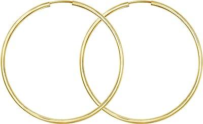 Orecchini Donna oro giallo 333/585/750 Cerchi Grandi 50 mm, largh. 2 mm, marchio di garanzia made in Germany