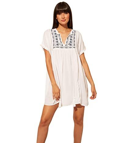 Bleu Rod Beattie India Bazaar Short Dress Cover-Up (White/Navy) Women