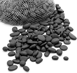 Royal Imports 5lb Small Decorative Ornamental River Pebbles Rocks for Landscaping, Home Decor etc. (Not for Aquariums) with Netted Bag, Black