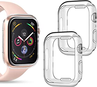 Goton Compatible iWatch Apple Watch Case 40mm Series 4 5, (2 Packs) Soft TPU Shockproof Case Cover Bumper Protector (Clear and Clear, 40mm)