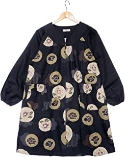 [ローズハウス] Rose House 綿紬 配色切替え つばき柄 ロングウエア 和柄 割烹着 レディース 日本製