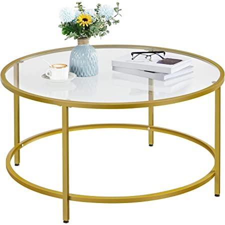 Yaheetech 36in Round Glass-Top Coffee Table,Mustard Gold Modern Accent Side Sofa Table w/Protective Foot Pads,Metal Structure & Reinforced Frame for Living Room,Dining Room,Apartment,Small Space
