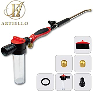 ARTIELLO Hydro Jet High Pressure Power Washer Wand with Soap Dispenser and Brush, 30 Inch Extendable Sprayer Hose Nozzle with Patio and Garden Hose End, Car Washing and Glass Cleaning Tool with 2 Tips