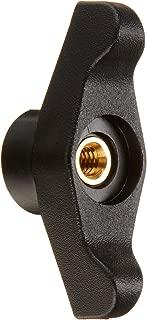 DimcoGray Black Thermoplastic Wingnut Knob Female, Thru Hole Brass Insert: 1/4-20