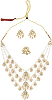 Zaveri Pearls Gold Tone Layered Kundan & Pearls Necklace Earring & Ring Set For Women-ZPFK10816