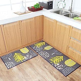 HEBE Kitchen Rugs Runner Set 2 Piece Non-Slip Kitchen Mat and Rug Set Rubber Backing Doormat Runner Rug Set Machine Washab...