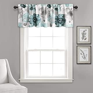 "Lush Decor Leah Floral Window Curtain Valance, 18"" x 52"", Blue, L"