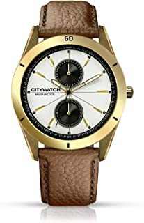 CITYWATCH Limited Edition Men's Watch with Brown Genuine Leather Strap, Gold IP SS Case CY010.05BR