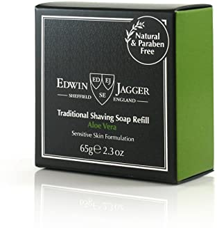 Edwin Jagger 99.9% Natural Aloe Vera Rasierseife in Reisedose, 65 g, 1er Pack 1 x 65 g