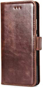 DENDICO Case for Huawei P9  Premium Leather Wallet Case Huawei Magnetic Flip Protective Case Book Cover with Card Holder Brown
