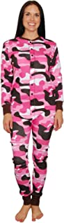 Womens Camo Flapjacks Adult Onesie Pajamas (Pink)