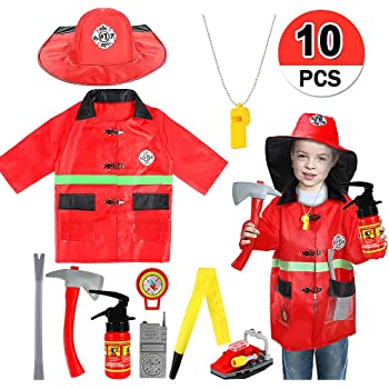 Fire Fighter Fireman Sam Dressing Up Costume Fancy Dress Boys Toddlers Age 3-7