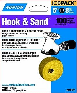 Norton Hook & Sand JobPack 49222 Hook & Loop Random Orbital Discs, P100 Medium Grit, Aluminum Oxide Abrasive, For Finish S...