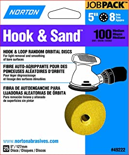 Norton Hook & Sand JobPack 49222 Hook & Loop Random Orbital Discs, P100 Medium Grit, Aluminum Oxide Abrasive, For Finish Sanding and Cleaning of Bare Surfaces, 5
