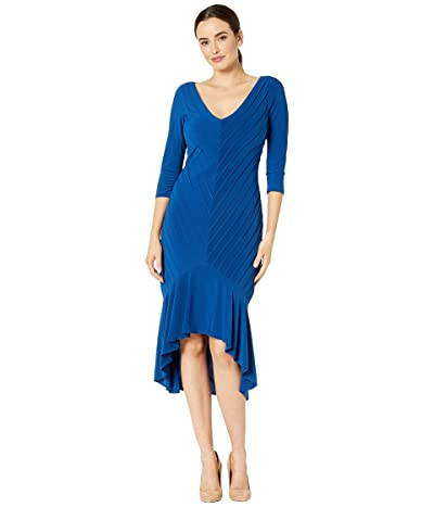 Adrianna Papell Pintucked Jersey Flounce Dress (Night Flight) Women