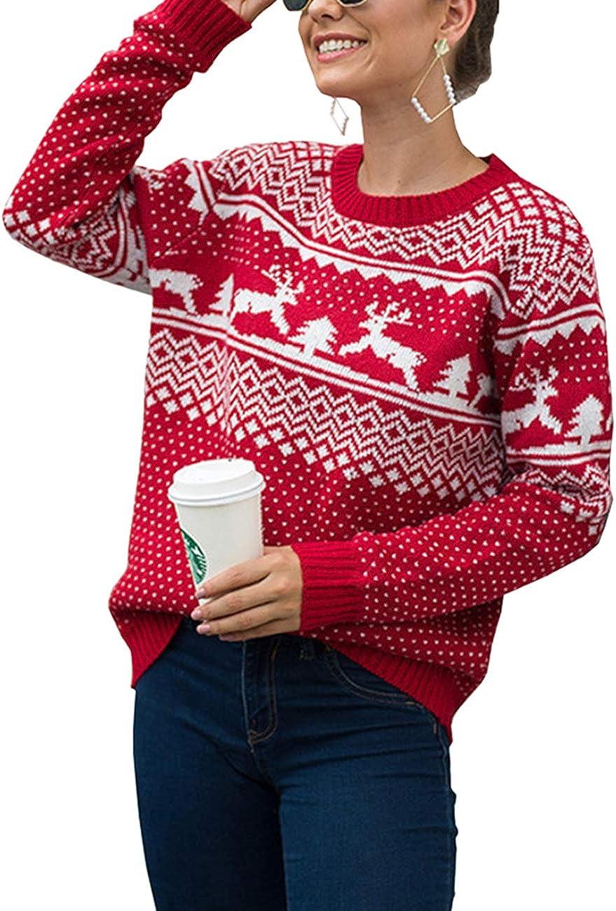 KIACIYA Weihnachten Oberteil Damen Teenager M/ädchen Weihnachtspulli Rentier Elch Weihnachtspullover Unregelm/ä/ßige Langarmshirt Christmas Sweatshirt Xmas Pulli Pullover Bluse Top mit Tasten