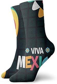 Seamless Sugar Skulls Mens Womens Athletic Crew Socks for Men Cushion Casual Sports Workout Sock
