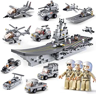 Building Blocks Assembling Toys Aircraft Carrier with Soldiers Jets Military Vehicles Building Blocks Set Helicopter Fighter Military Vehicles Blocks