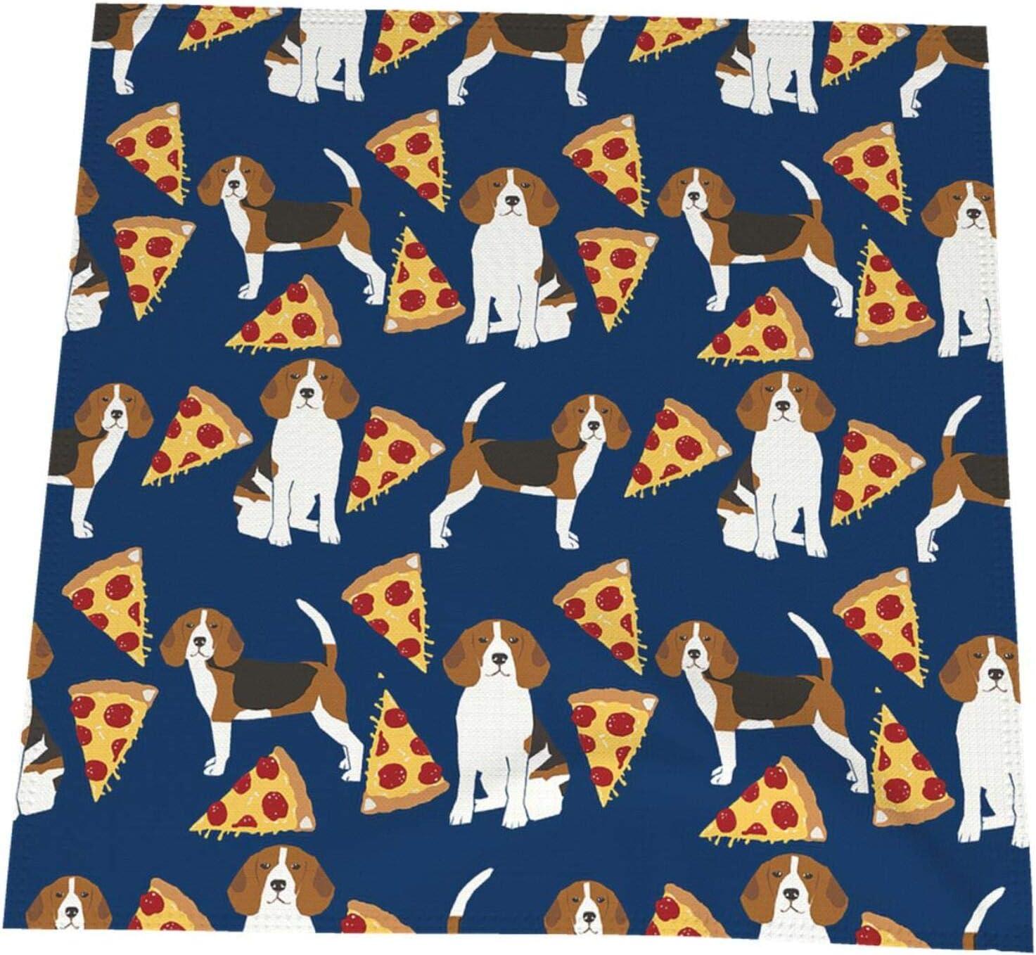 Pizza Food Beagle Dog Cute Animal Blue Napk Washable Deluxe Cloth Max 79% OFF 19x19