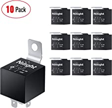 Nilight 50043R Socket 10 Pack SPDT Bosch Style Electrical 12V 30/40 Amp 5-Pin Relays Switch for Automotive Truck Marine Boat,2 Years Warranty