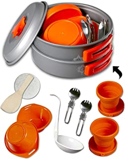 gear4U: Camping Cookware Kits - BPA-Free Non-Stick Anodized Aluminum Mess Kits - Complete Lightweight Mini Folding Pot Kit...