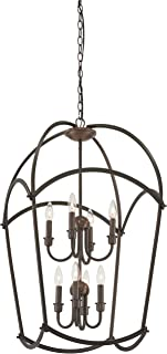 Minka Lavery Pendant Lantern Ceiling Lighting 4778-281 Jupiter's Canopy, 8-Light 480 Watts, Harvard Court Bronze