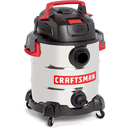 CRAFTSMAN CMXEVBE17155 10 Gallon 6.0 Peak HP Stainless Steel Wet/Dry Vac, Portable Shop Vacuum with Attachments