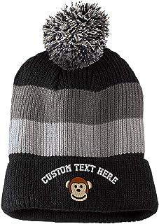 5656ba02804 Custom Text Embroidered Cute Monkey Face Vintage Striped Pom Pom Beanie