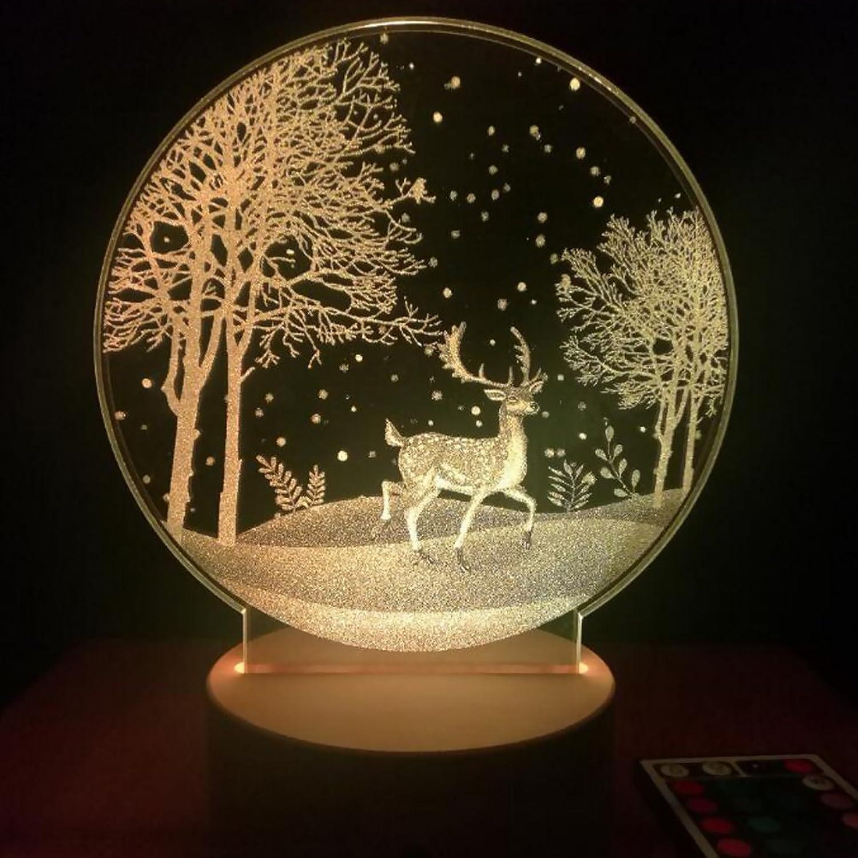 LEDMOMO Christmas Reindeer 3D LED Night Light Bedroom Bedside Lamp (Light Yellow Light)