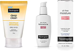 Neutrogena Deep Clean Blackhead Eliminating Daily Scrub, 100g and Neutrogena Oil Free Moisture For Combination Skin, 118ml
