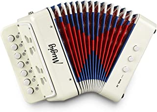 Mugig Button Accordion, 10 Keys Control Accordion include 3 Air Valve, Easy to Play, Lightweight and Environmentally-friendly, Kid Instrument for Early Childhood Development (White)