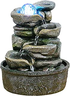 Zen Meditation Waterfall نافورة المنضدية فولت فولز ميزة شلال داخلي - مهدئ مياه مياه تهدئة ومريحة - ميزة مياه سطح المكتب ال...