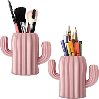 2 PCs Creative Cactus Shaped Pencil Holder Container Desktop Pen Brush Organizer Office Stationery Supplies Home Decor,Green+Pink