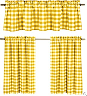GoodGram 3 Pc. Plaid Country Chic Cotton Blend Kitchen Curtain Tier & Valance Set - Assorted Colors (Yellow)