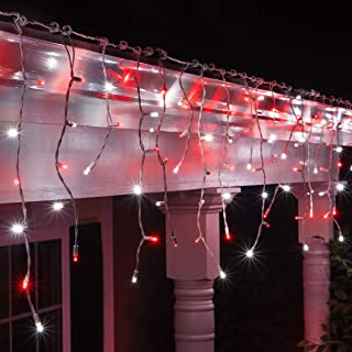 70 5mm LED Red and Cool White Icicle Lights, 7' on White Wire, Red and White Christmas Lights Outdoor Icicle Red White Christmas Lights (5mm Lights, Red/Cool White)
