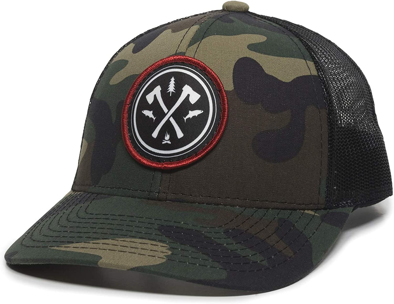 Circle Axe Patch Trucker Hat - Adjustable Mesh Back Baseball Cap for Men & Women