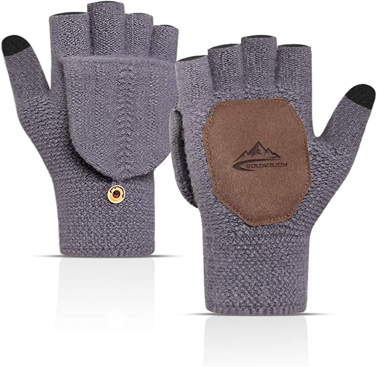 Convertible Gloves Wool Knit Fingerless Gloves Warm Windproof Touchscreen Anti-Slip Thermal Warm Gloves Mittensfor Men Women